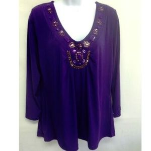 By Design Top Purple V Neck Jeweled XL